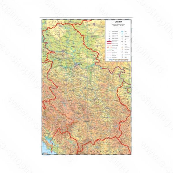 vodena karta srbije Karta Srbija A3 vodena karta srbije